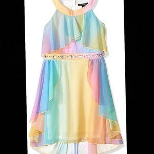 My Michelle Girls Rainbow Dress w Jeweled Waist